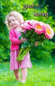Cute Kids Good Morning Flower Images in Hindi