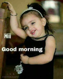 Baby Girl Saying Good Morning Image