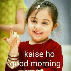 Cute Girl Good Morning Image in Hindi